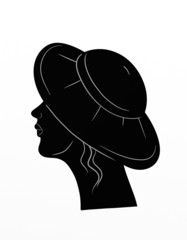 Profile of woman with hat