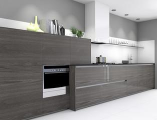 Einbauküche mit grauer Holzoptik