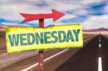 Wednesday sign with road background