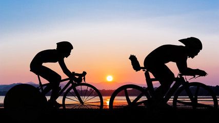Triathlon at the beach evening time