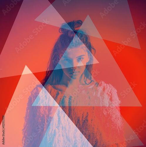 Art fashion portrait abstract color triangles on face - 82053108