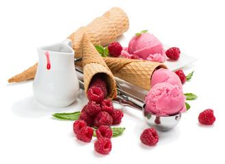 Ice cream and raspberry