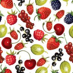 Cartoon ripe berries pattern seamless