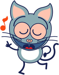 Cute gray cat singing and dancing enthusiastically