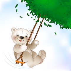 Happy Teddy bear riding on a swing