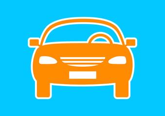 Orange car icon on blue background