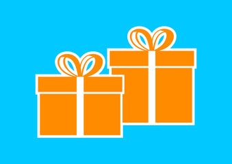Orange gift icon on blue background