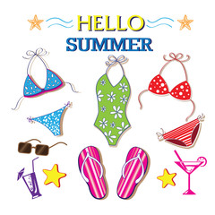 Girl swimsuit on the clothesline summer set