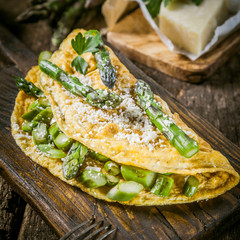Egg Omelette Garnished with Asparagus and Cheese