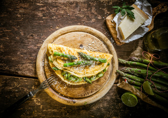 Gourmet Egg Omelette with Asparagus and Cheese