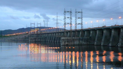 Hydroelectric power station in the evening