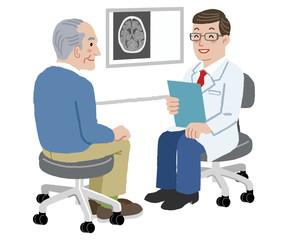 医者 患者 高齢者 Doctor and his senior patient at his office
