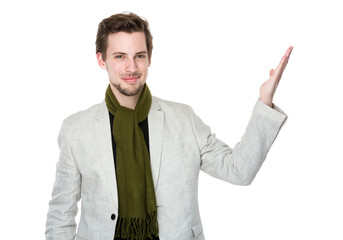 Man with open hand palm