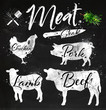 Set meat silhouettes chalk - 82057794