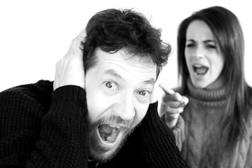 Man shouting scared about wife yelling at him