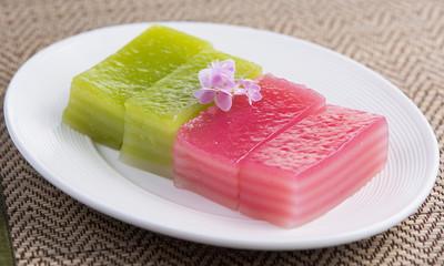 close up of thai dessert,thai layer cake on white plate