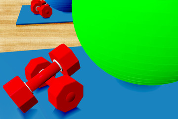 Exercise ball, mat and weights in the studio