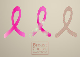 Vector Breast cancer awareness pink ribbon on white background.
