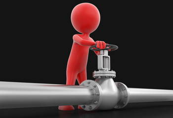 Pipeline and Man (clipping path included)