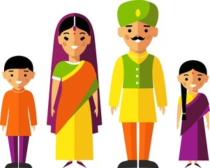 Vector  illustration of indian  family in national clothes