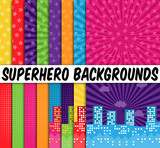 Fototapety Collection of 16 Vector Superhero Themed Backgrounds