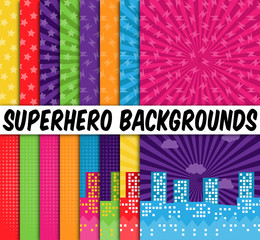 Collection of 16 Vector Superhero Themed Backgrounds