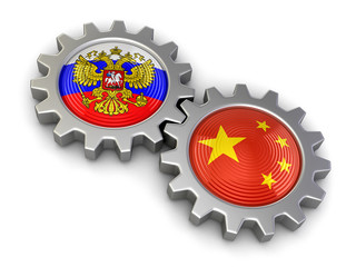 Russian and Chinese flags on a gears (clipping path included)