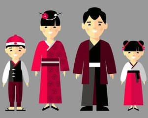Vector illustration of japanese family in national clothes