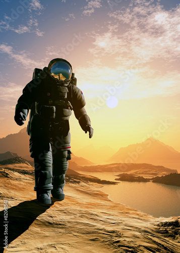 Astronaut  on the planet. - 82061541