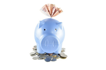 Piggy bank and money on white background with clipping paths.