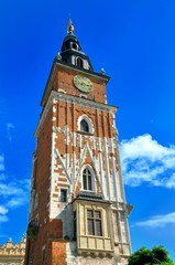 City Hall tower in Cracow, Poland.