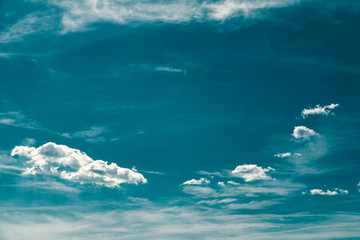 Retro Photo Of Blue Summer Sky And Clouds