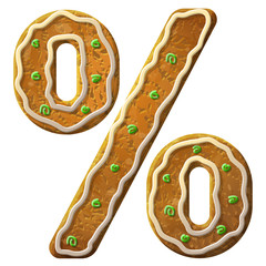Gingerbread percent sign decorated colored icing. Holiday cookie