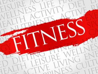 Fitness word cloud, health concept