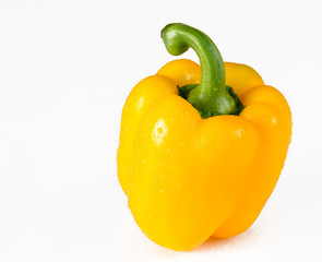 Yellow Bell Pepper Over White Background