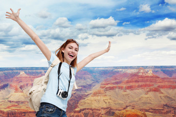 Happy travel woman in America
