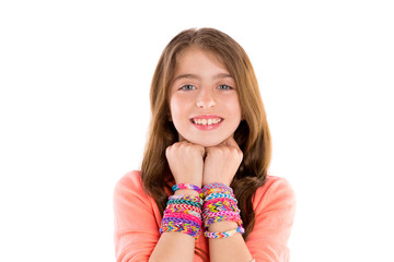 Loom rubber bands bracelets blond kid girl smile