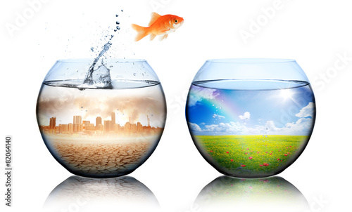 Leinwandbild Motiv Global Warming Concept - goldfish jump from pollution to green