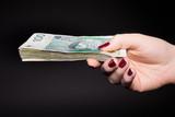 Polskie pieniądze w kobiecej dłoni - banknoty