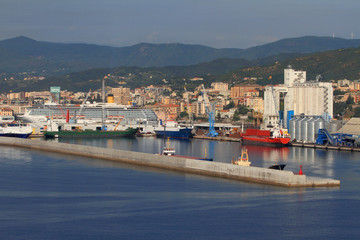 Port city on Mediterranean Sea. Savona, Italy