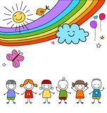 Fototapety kids group and rainbow