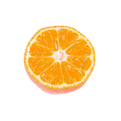 Slice of ripe tangerine isolated on white