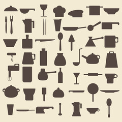 Cooking items types silhouette icons set. Perfect for web design