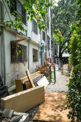 storage alley behind building