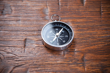 compass on wooden background