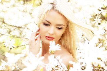 Portrait of a beautiful young blond woman with perfect skin