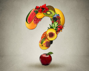 Fresh diet questions concept group fruits shape question