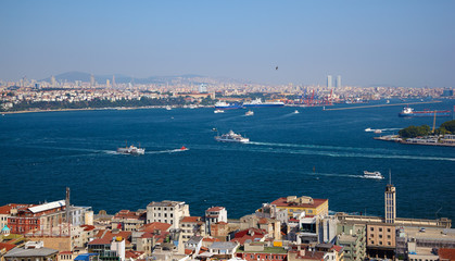 The crossroad of Bosphorus strait and Golden Horn in Istanbul