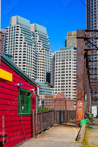 Poster Chicago Boston Northern Avenue Bridge in Massachusetts