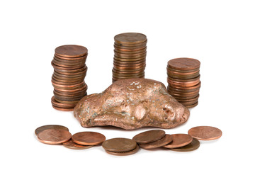 Isolated Copper Nugget and Pennies